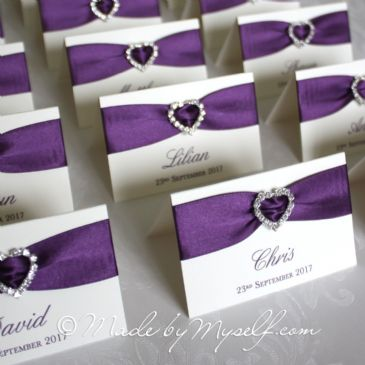 Ribbon Heart Place Card Purple